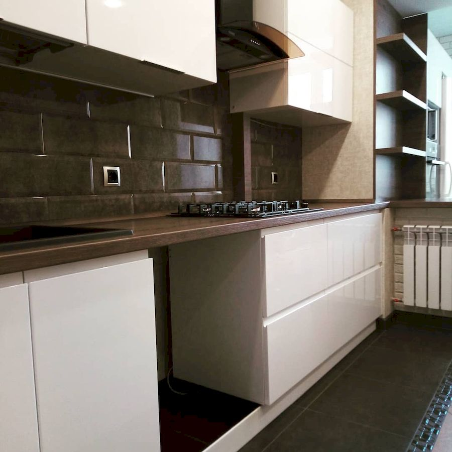 Белый кухонный гарнитур-Кухня МДФ в эмали «Модель 654»-фото4