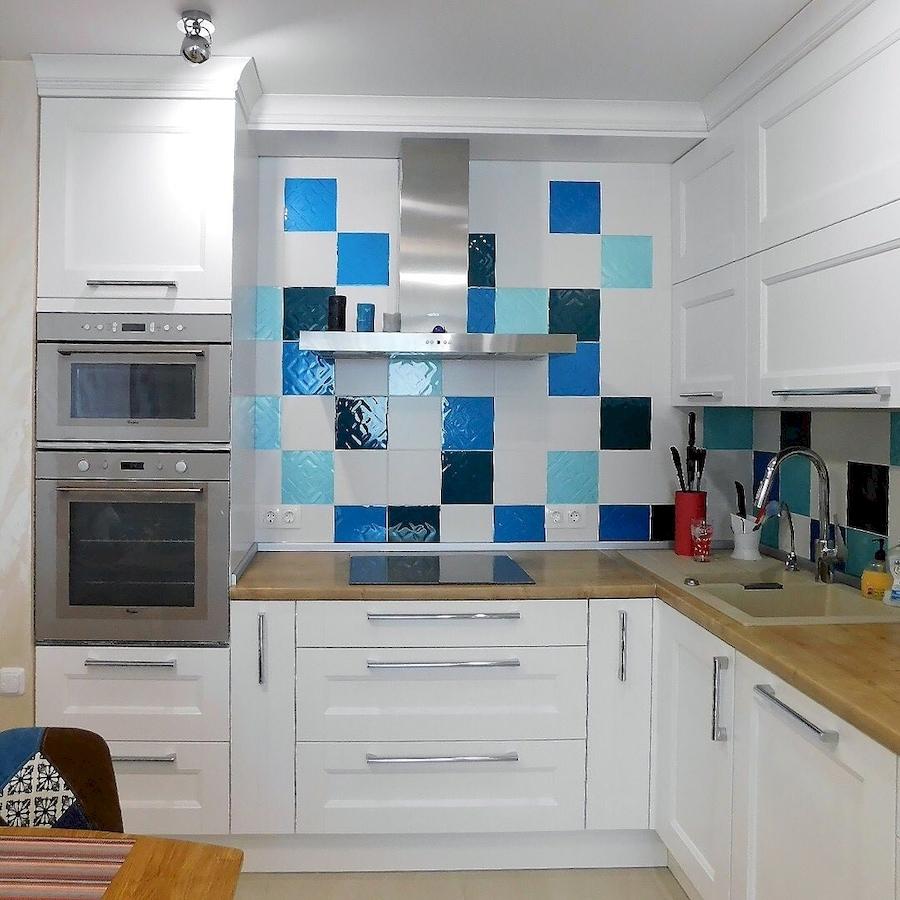 Белый кухонный гарнитур-Кухня МДФ в эмали «Модель 591»-фото3